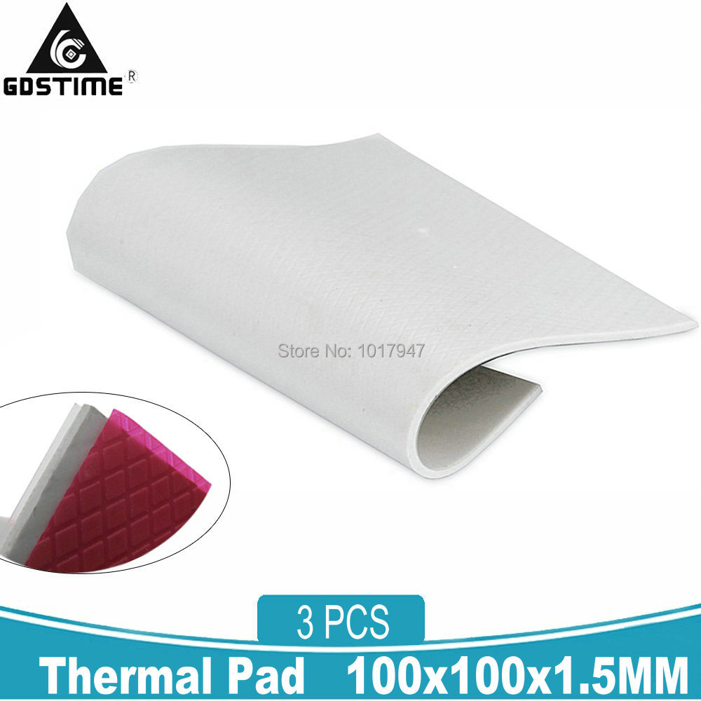 3Pcs Gdstime 100mm*100mm* 1.5mm Thermal Pad Sheets GPU CPU IC Heatsink Cooling Conductive North South Bridge Silicone Pad