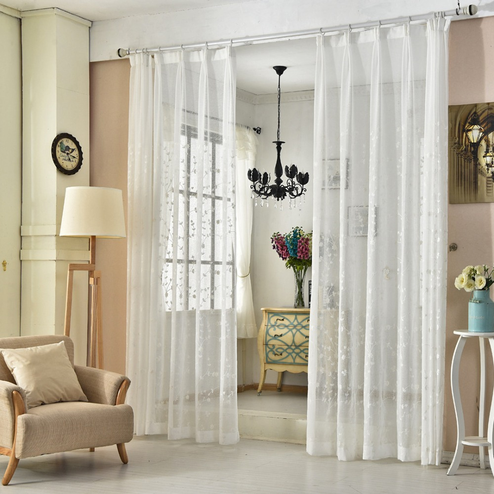 Translucidus Embroidered Tulle Curtains Bedroom Decoration Window ...