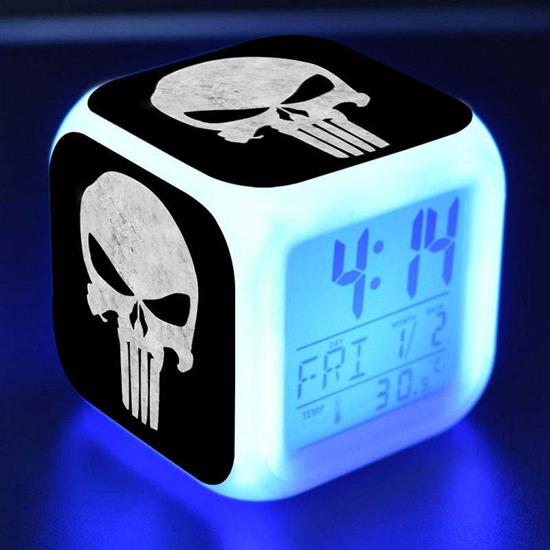 Figuras The Punisher Super Heroes Alarm Clock LED Colorful Flash Touch Light Punisher Figurine Desk Watch Toys