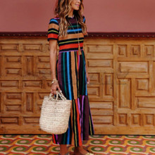 CUERLY 2019 Casual Dress Women Clothes Fashion Rainbow Stripe Splice big hem Long Female Summer Beach Maxi Dresses
