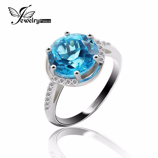 Attractive Stylish Blue Topaz Ring Genuine 925 Sterling Silver Fashion Bijouterie Natural Gemstone Charm Vintage Jewelry Crystal