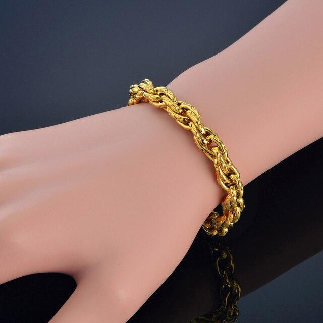 Mens Bracelet 8MM Width Male Gold Color Hip Hop Style Rope Chain