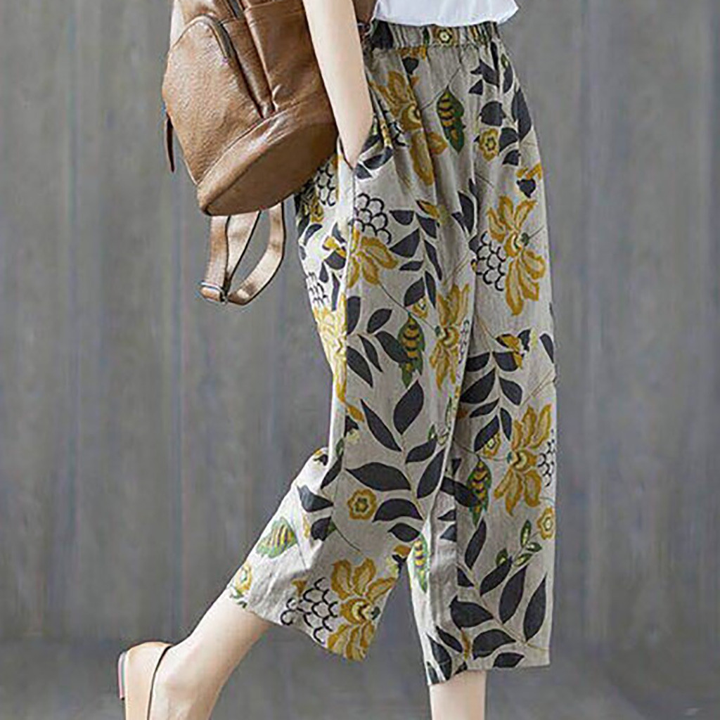 Feitong Autumn Women's Pants Print High Waist Cotton And Linen Nine Pants Ankle Length Pants Casual Fashion Beach Trousers