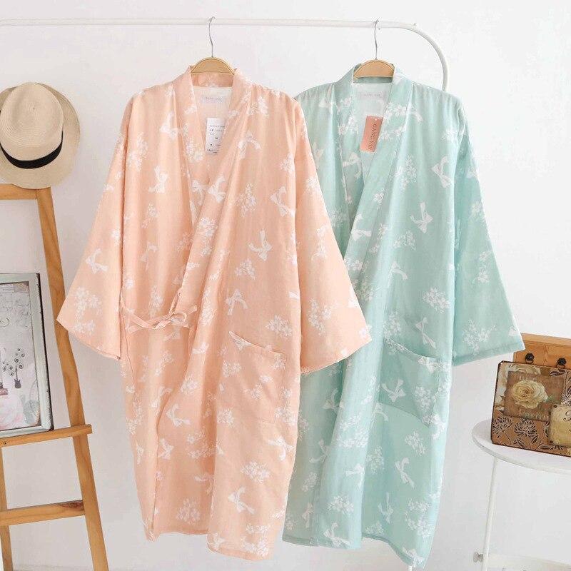 Womens 100% cotton japanese style kimono sleepwear nightgown robe japanese style long design lounge bathoses long-sleeve khan