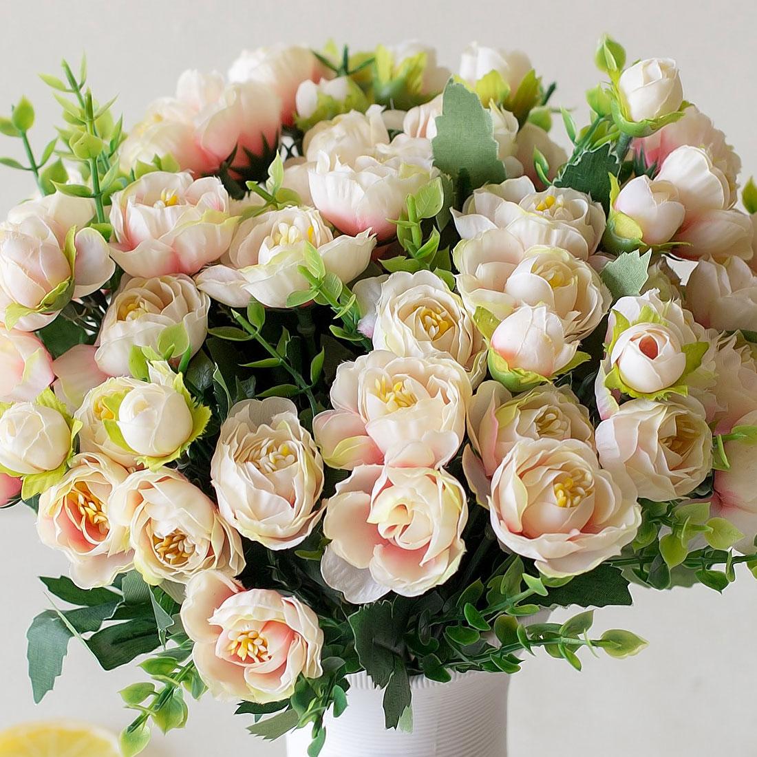 Поддельные цветы 15 бутоны искусственных цветов небольшой чайный бутон Моделирование Малый Чай роза Шелковый цветок Свадебные украшения цветок