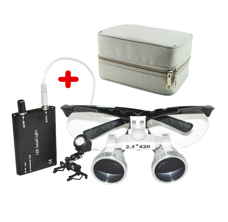 Original 2.5X420mm magnifying glass Dentist Dental Loupes 2.5x with light dental loupe Glasses dental loupe case westcode section 2 5 times a magnifying glass root canal therapy glasses atomization