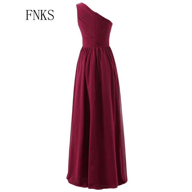 Beautiful Marsala Burgundy Bridesmaid Dress One Shoulder Chiffon Ruched Party For Wedding A Line Long