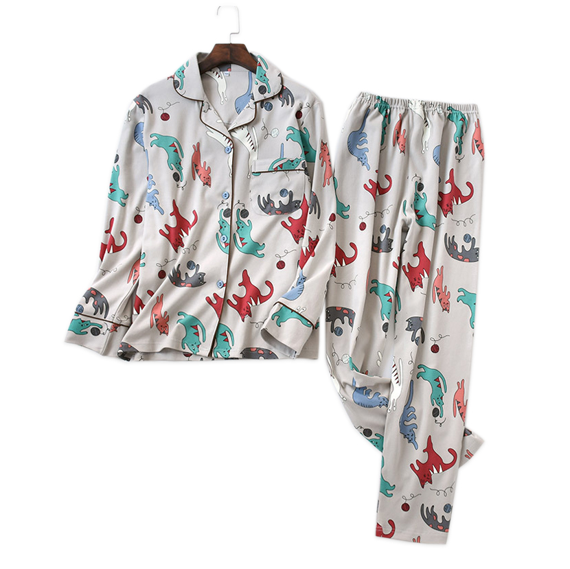 Spring cute Korean cartoon cats pajamas sets women 100%  flannelette cotton quality female pijamas mujer casual pyjamas women