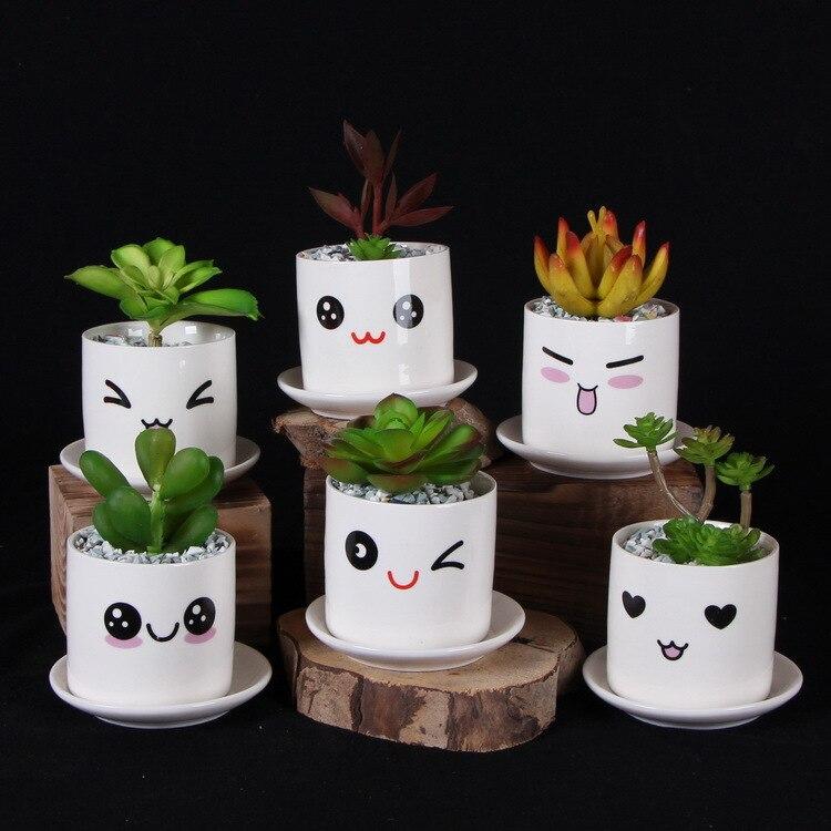 Lindo mini porcelana maceta escritorio suculentas florero cilindro - Productos de jardín