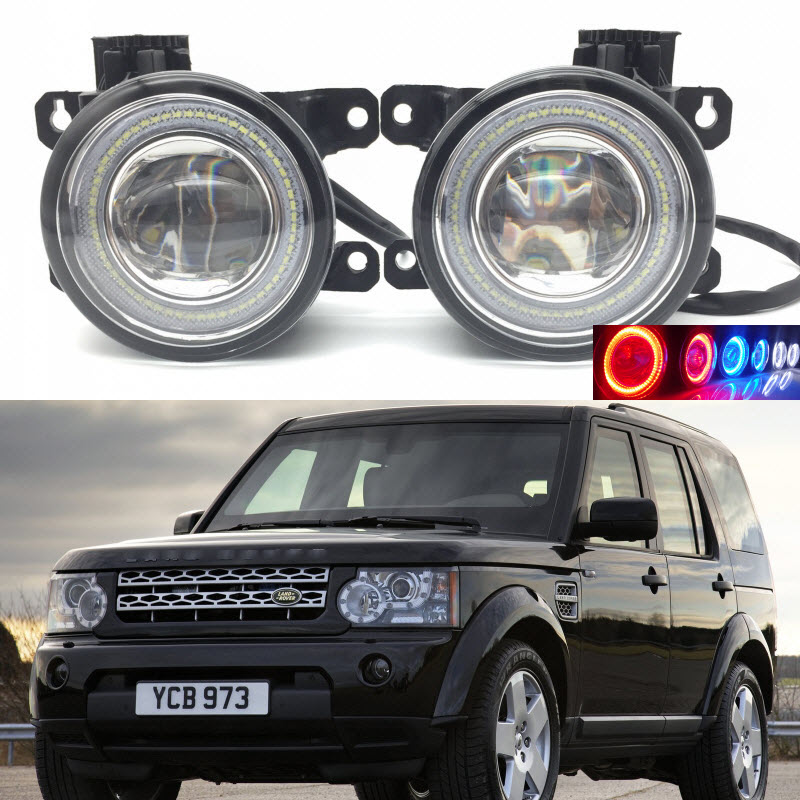 2 in 1 LED Angel Eyes DRL 3 Colors Daytime Running Lights Cut-Line Lens Fog Lamp for Land Rover Discovery 4 IV 2009 to 2016 eemrke led angel eyes drl for suzuki aerio liana 2005 2006 2007 fog lights daytime running lights h3 55w halogen cut line lens