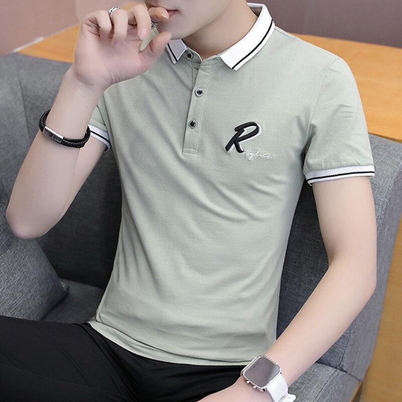 Men   polo   shirt short sleeve 2019 new summer lapel thin cotton male   polo   shirt teenage boy tops black white gray Korean style P15