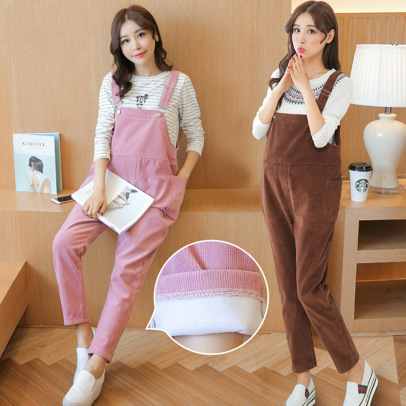 High Quality Maternity Overalls Pregnancy Jumpsuits Rompers Pregnant Women Thickening Corduroy Casual Suspender Bib Pants P113 2018 spring maternity jumpsuit pants for pregnant ladies pregnancy bib pants mummy playsuit women loose fit plaid strap trousers