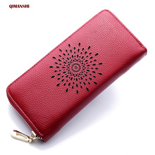QIAMNSHI Genuine Leather Women Wallet Female Long Clutch Lady Wallet Luxury Brand Money Bag Magic Zipper Coin Purse Ladies