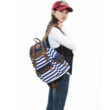 Women backpack New fashion stripe casual canvas backpack school bags preppy style female school backpacks good quality 1