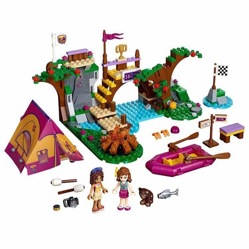 Bela 325 Pcs 10493 Friends Adventure Camp Rafting Building Blocks Set Model Compatible Toys Friends Brick Girl Toys