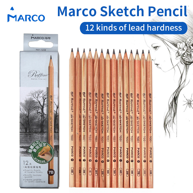 12 Pieces/Box Marco's Sketch Drawing Pencil Set Non-toxic Pencils For School Student Top Quality Standard Pencils lapiz 7001 50 pcs box hb standard pencil set for kids non toxic crude wood pencils for school student brand stationery drawing writing