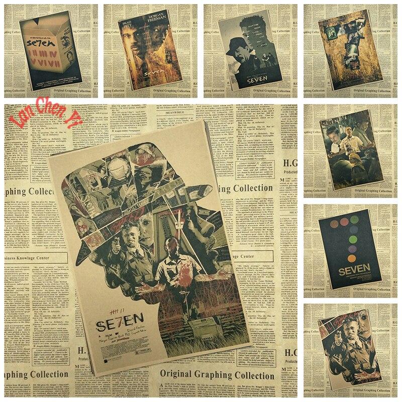 Vintage Nostalgic Classic Movie Se7en Matte Kraft Paper Poster Office Gift Room Dining Home Decor wall sticker Design