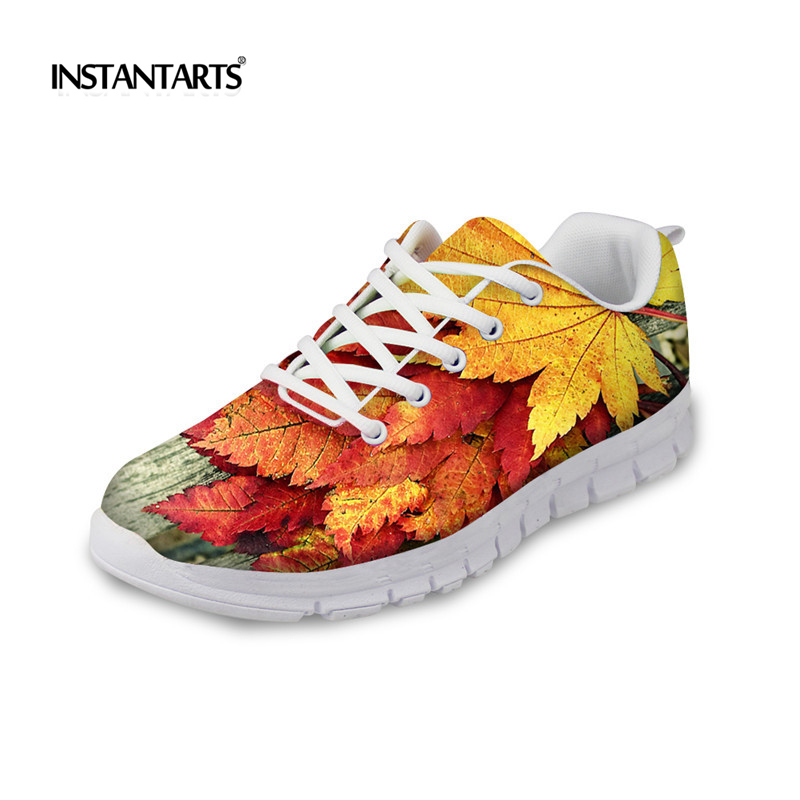INSTANTARTS Fashion Women Flat Shoes Woman Lace-up Breathable Sneakers Creative Maple Leaves Design Lady Casual Flats for Ladies instantarts casual women s flats shoes emoji face puzzle pattern ladies lace up sneakers female lightweight mess fashion flats