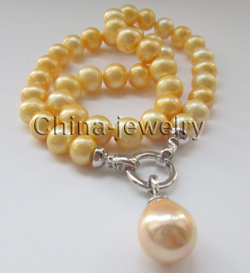 P6710 18 11mm gold round freshwater pearl necklace + 20mm shell pearl pendant