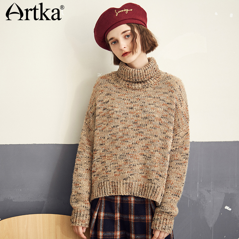 ARTKA Loose High Collar Short Sweater YB11181Q