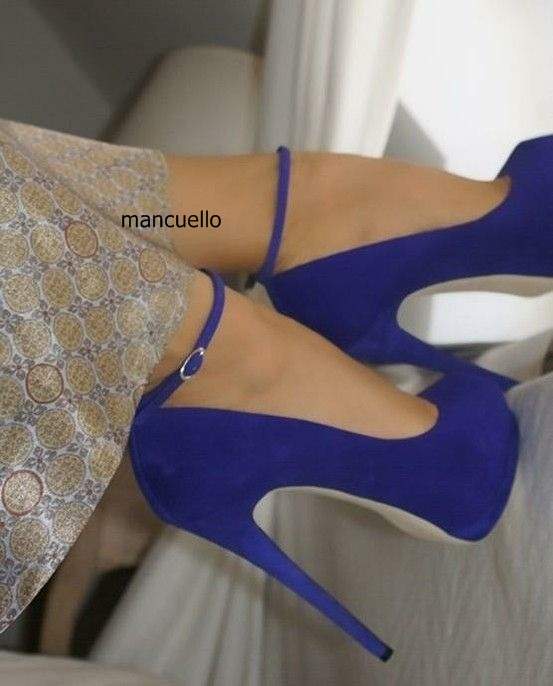 New Fashion Design Women Blue Suede Stiletto Heels Concise Line-Style Buckle Platform Shoes Round Toe Elegant Women Pumps elegant women s pumps with suede and slingback design