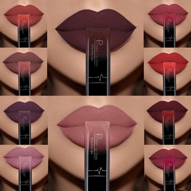Impermeable Nude labios larga duración líquido lápiz labial mate Kit de brillo de labios cosméticos de moda de las mujeres labio maquillaje regalo Batom