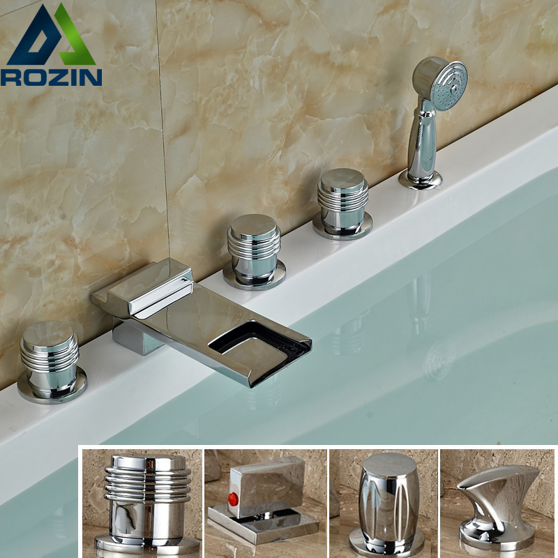 Modern 5pc Deck Mounted Waterfall Bath Tub Sink Faucet Widespread Chrome Brass Ttub Filler with Handshower