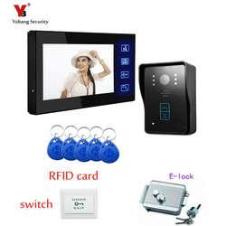 """Yobang безопасности Бесплатная доставка Проводные сенсорные клавиши 7 """"телефон видео домофон Системы 5 RFID клавиатуры номер кода Дверные"""