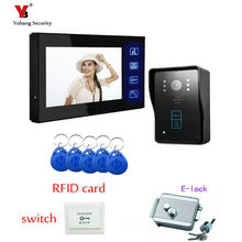 Yobang Security FREESHIP Wired Touch Key 7″ Video Door Phone Intercom System 5 RFID Keypad Code Number Doorbell Camera 1 Monitor