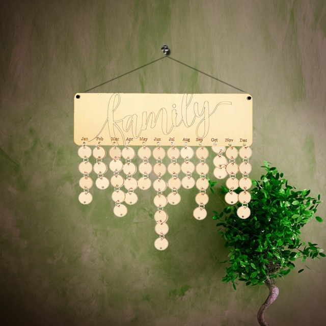 DIY Wooden Family Calendar Hanging Wall Decorations Christmas ...