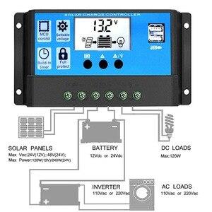Image 5 - 60A/50A/40A/30A/20A/10A 12V 24V oto Solar şarj regülatörü PWM kontrolörleri LCD çift USB 5V çıkışı GÜNEŞ PANELI PV regülatörü