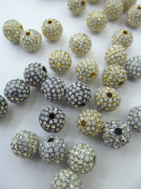 top quality 50pcs 6 8 10 12mm Bling Pave Opal Crystal Brass Spacer Round Ball Gunmetal Gold Antique silver Charm beadstop quality 50pcs 6 8 10 12mm Bling Pave Opal Crystal Brass Spacer Round Ball Gunmetal Gold Antique silver Charm beads