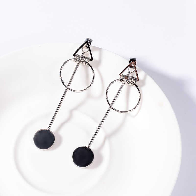 XZP Korea Earrings Jewelry Temperament Simple Retro Long Circle Ear Line Geometric Earrings For Women Statement Drop Earrings