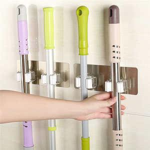 Image 1 - Creative קיר רכוב אחסון מתלה מקלחת חדר סמרטוט ארגונית מחזיק מברשת מטאטא קולב אחסון מדף מטבח כלי