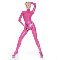 Latex Catsuit Girl's Tights Costumes Zentai Fetish Garments Open Crotch Back Zipped Bodysuit (NO Briefs)