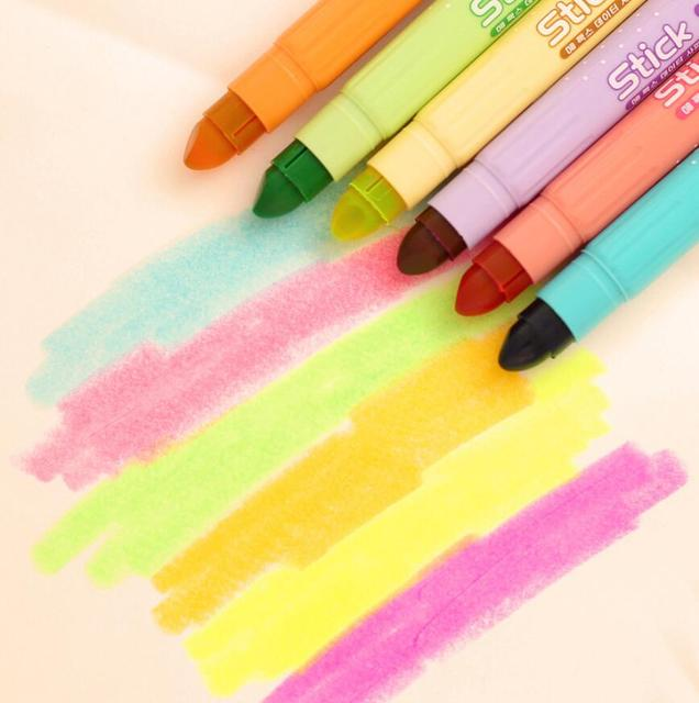 6 Pcs / pack New Creative cute solid crayon Dry jelly colored highlighter, circle neon marker pen school kawaii supplies
