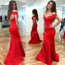 Neue Designer Seidige Satin Lange Red Mermaid Abendkleid 2016 Vestido De Festa Boot-ausschnitt Elegante Frauen Lange Prom Kleider Zu Party