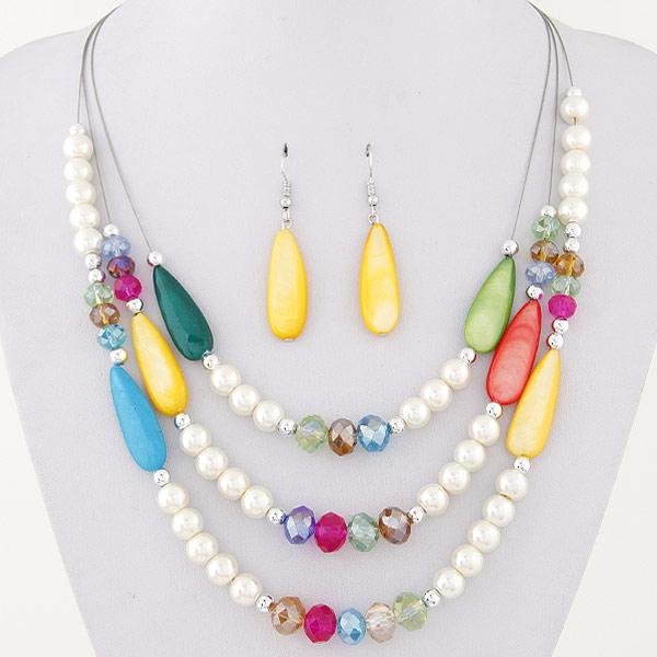 943b33d8d4df Declaración collar 2016 vintage simulado perla larga Collares y colgantes  Pendientes joyería conjuntos para mujeres nupcial bijoux