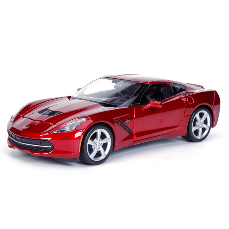 Diecast Model Corvette C7 2014 Red 1:24 Alloy Car Metal Racing Vehicle Play Collectible Models