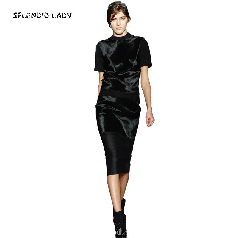 Kadın Giyim'ten Kadın Setleri'de Pist podyum yüksek kaliteli yeni tasarımcı kadın parti 2019 ilkbahar sonbahar parti Victoria Beckham siyah üstleri Bodycon etek seti'da  Grup 1