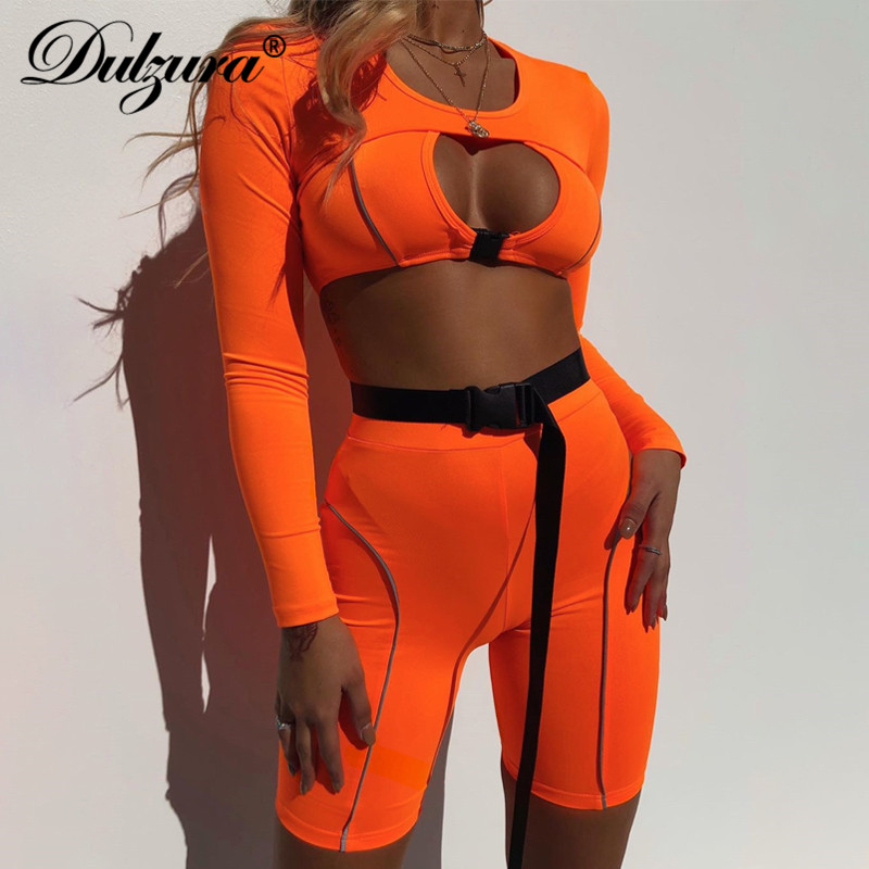 Dulzura 2019 Summer Women Two Piece Set Hollow Out Outfits Streetwear Matching Sets Co Ord Set Reflective Shorts Sexy Crop Top