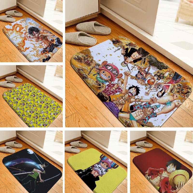 Floor Mat Cartoon One Piece Printed Rug Toilet Carpet Flannel Non Slip  Absorbent Shower Bathroom Crepet