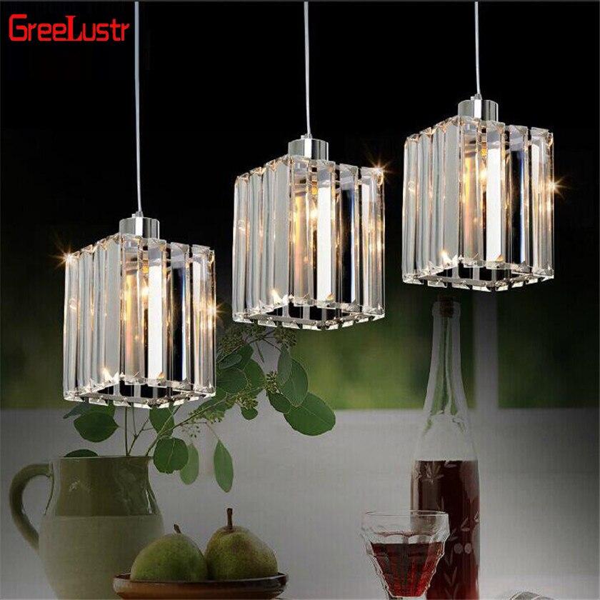 Modern K9 Crystal Pendant Lamps Led Chandelier Hanging Light For Dinning Room Colgante E27 Light Fixtures Home Deco Lustres