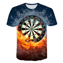 Summer Best 3D Dart Board T-Shirt Darts Throw Game Graphic Tee T Shirts Short sleeve Designer Shirts Skateboard Hip Hops Djing best price of football dart game inflatable soccer darts game on sale