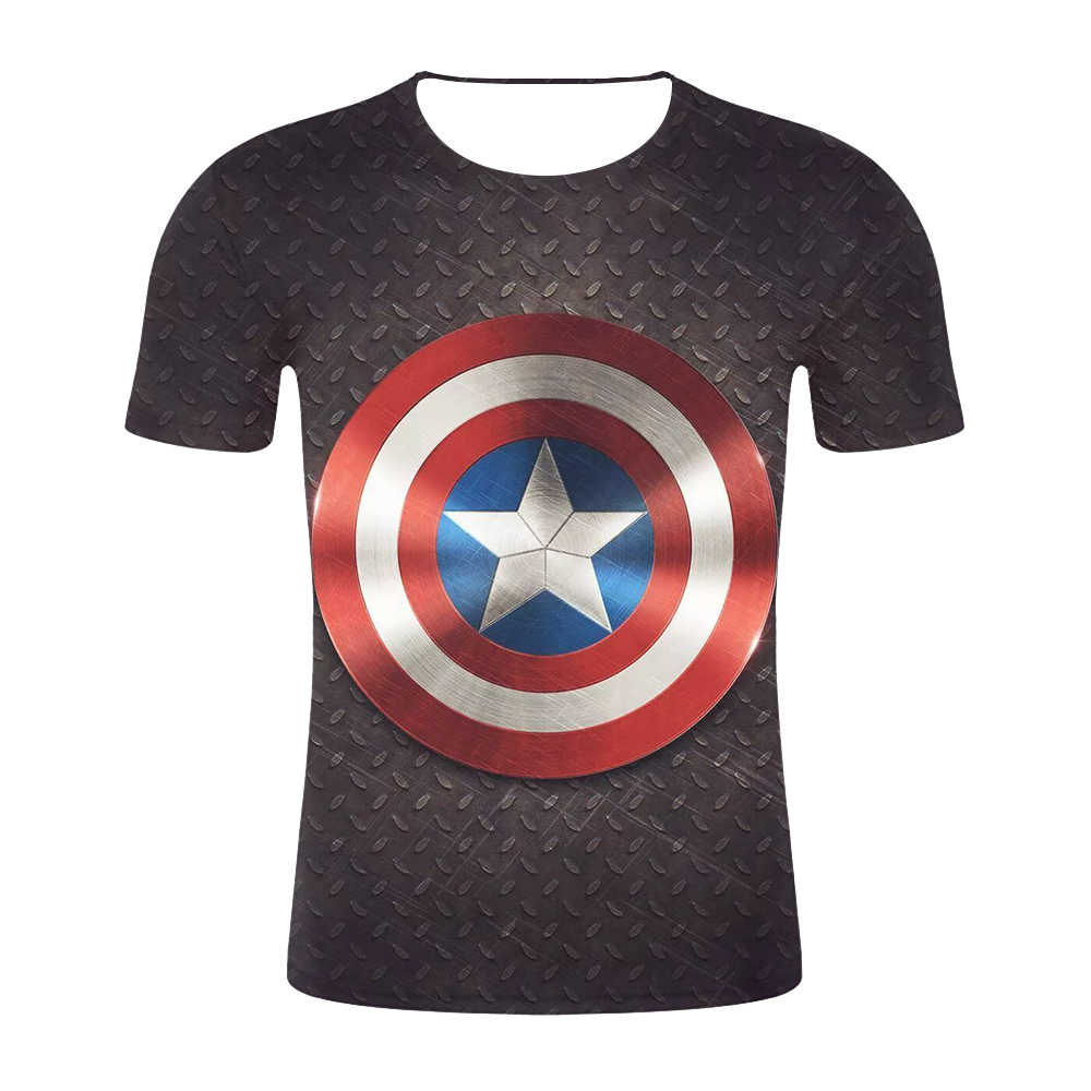 Новая летняя футболка Marvel Avengers с 3D принтом Ironman Мужская компрессионная для кроссфита с коротким рукавом мужская футболка модная одежда для фитнеса
