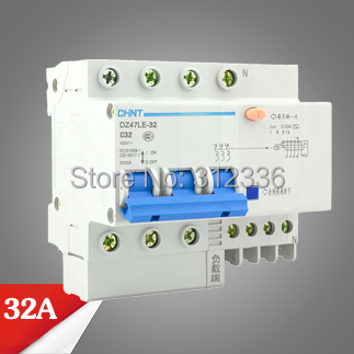 цена на Free Shipping Two years Warranty DZ47LE-32 C32 3P+N 32A 3 pole ELCB RCD earth leakage circuit breaker residual current