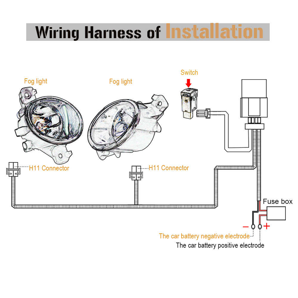 small resolution of buildreamen2 car styling fog light h11 wiring harness wire cable switch with led indicator at relay fuse for nissan infiniti lexus cigarette lighter fuse on