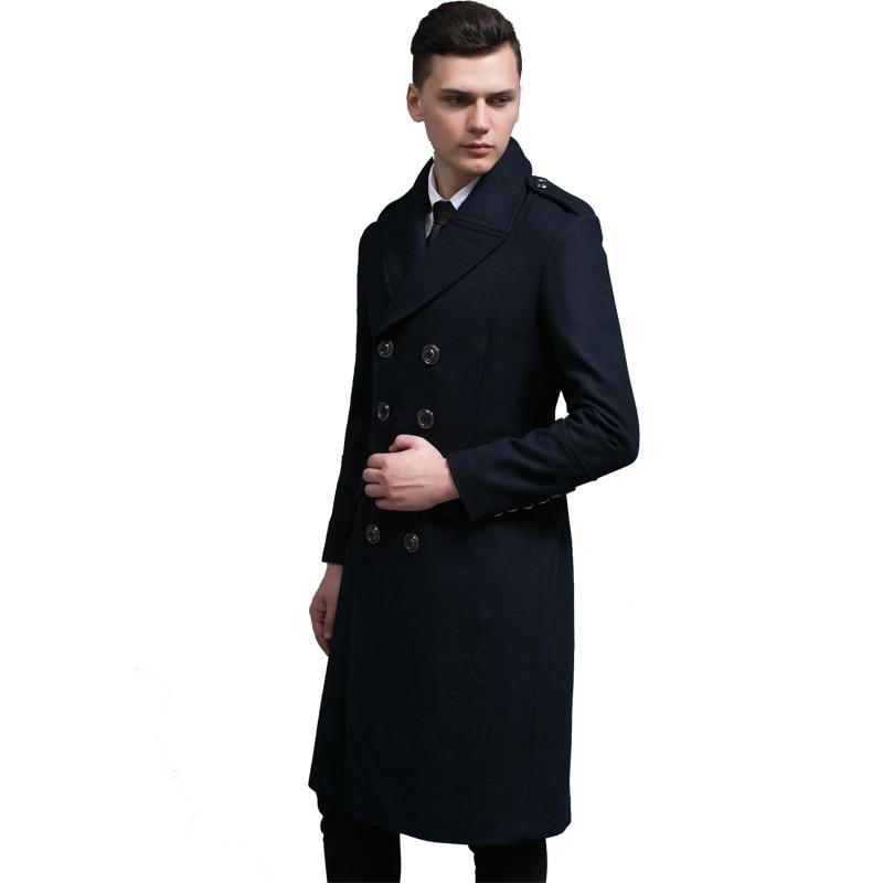 Hot Brand Men s Wool Trench Coat Men Double Breasted Windbreaker Coats male Casual lapel Autumn