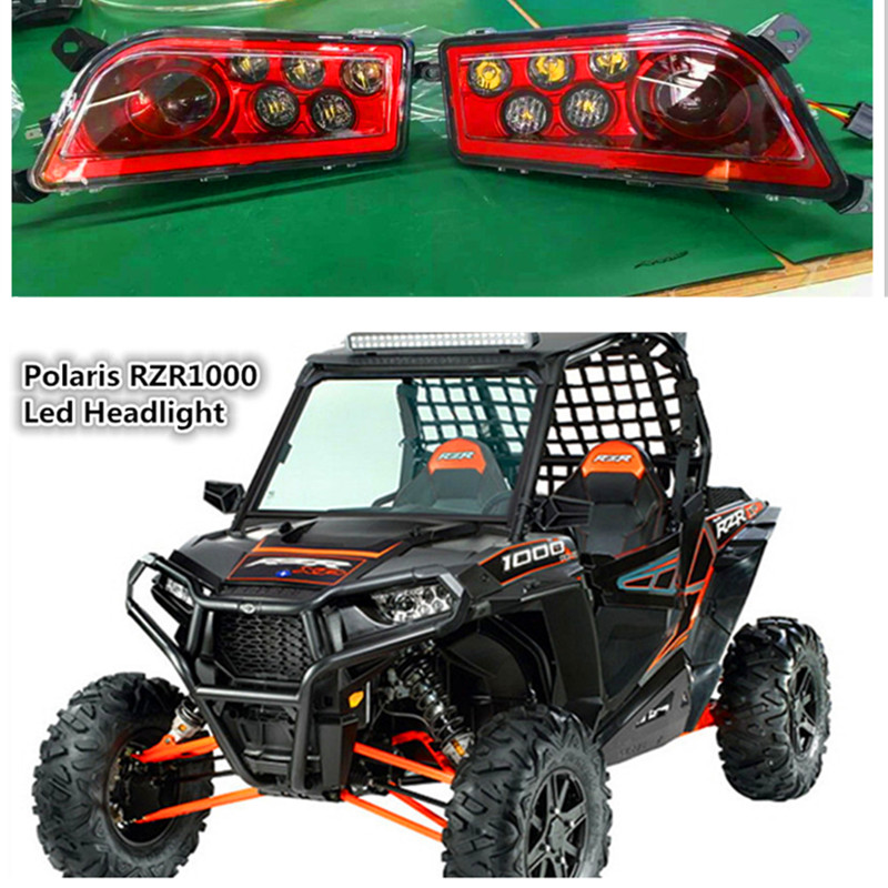 Red Polaris RZR Accessories UTV ATV LED Headlight kit Lamp for Polaris Razor 1000 2014-2016 RZR XP 4 1000 2016 RZR XP 4 TURBO voltage regulator rectifier for polaris rzr xp 900 le efi 4013904 atv utv motorcycle styling