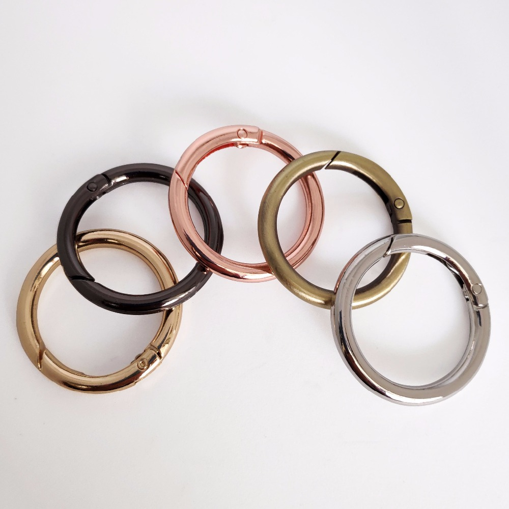 4 pcs Spring Bag Hook Round Carabiner Snap Clip Ring For Bag Accessories 15-50mm